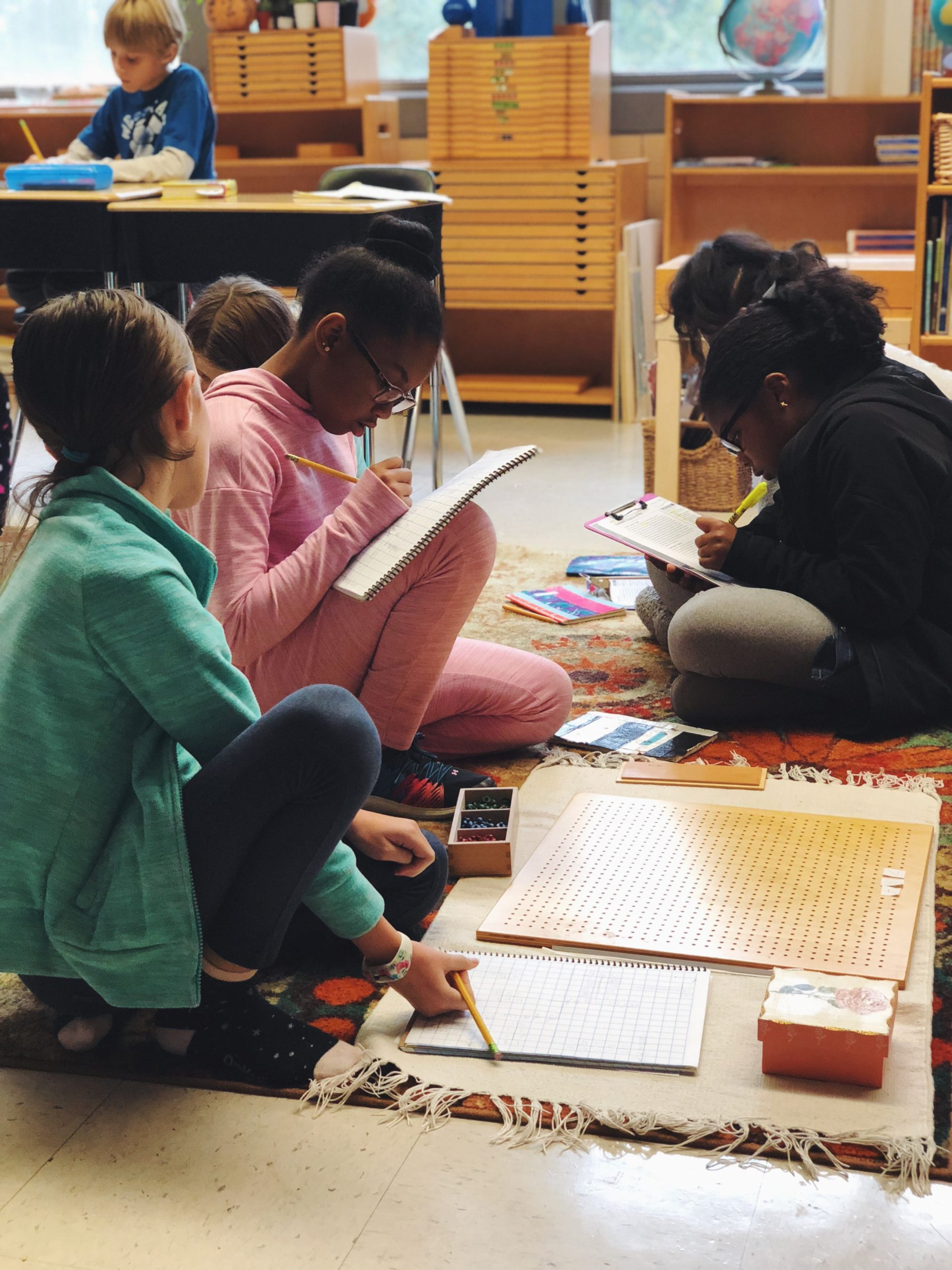 Diverse children in a public Montessori elementary classroom are engrossed in collaborative work.